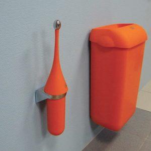 оранжевые ершик для унитаза и корзина